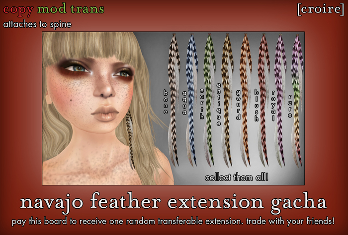 [croire] Navajo Feather Extension (fatpack/8) Hipster boho native american hair accessory for girls, teens, kids