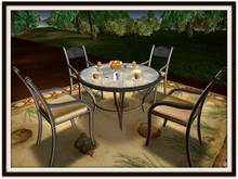 Bistro Set for 4: Wrought Iron & Glass Round Table