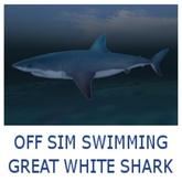 OFF SIM SWIMMING GREAT WHITE SHARK