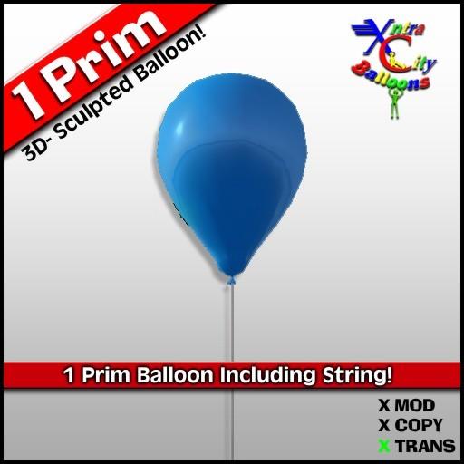 1 Prim Blue Balloon - Transfer - Xntra City Balloons