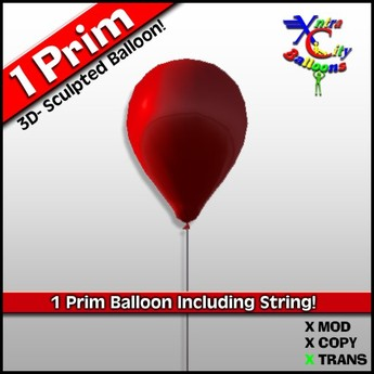 1 Prim Balloon - Candy Apple Red - Transfer - Xntra City Balloons