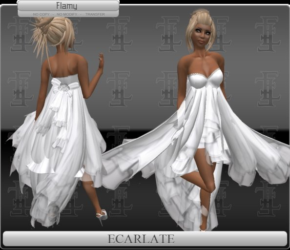 *Soldé/Sale* Ecarlate -  Gown Dress White / Robe formelle Blanche - Flamy
