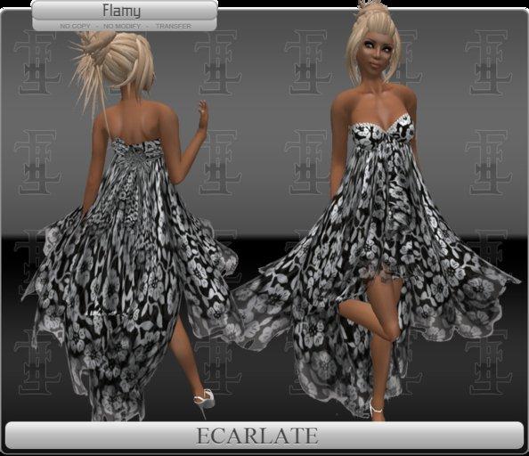 *Soldé/Sale* Ecarlate -  Gown Dress Noir flowers / Robe formelle Noir Fleurie - Flamy