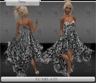 *Soldé/Sale* Ecarlate -  Gown Dress Noir flowers / Robe formelle Noir Fleurie - Flamy