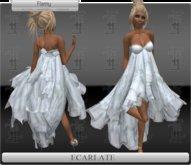 *Soldé/Sale* Ecarlate -  Gown Dress Blue Flowers / Robe Bleu fleuri - Flamy
