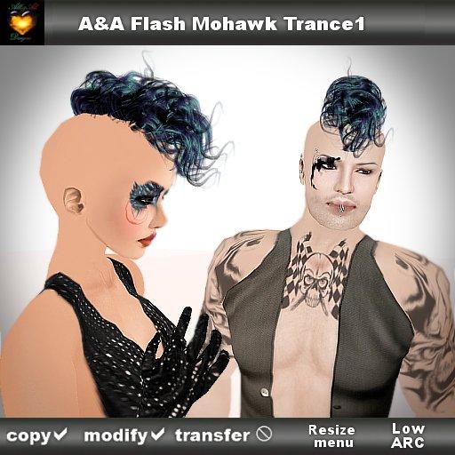 A&A Flash Mohawk Trance1 (unisex curly punk mohawk style)
