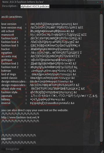 ASCII fashion letters free