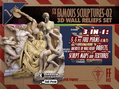 [FFBox] Backless 5x Famous Sculptures-02 3D Wall Reliefs Set {Full Perm}