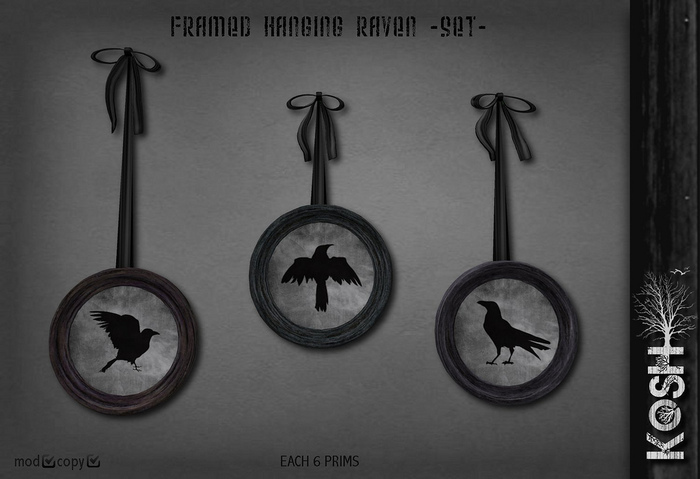 KOSH- FRAMED HANGING RAVEN SET