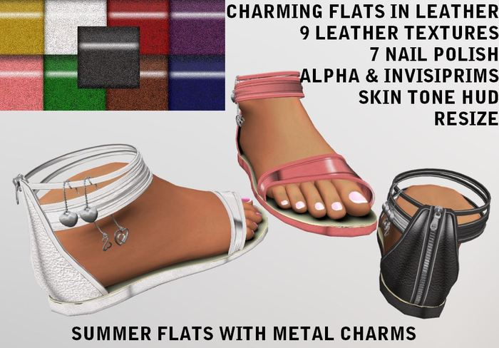 [AL] Leather Charming Flats - Multi Textured Sandals SL 1 & 2