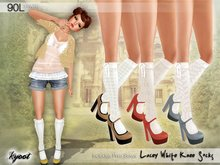 Kyoot - Lacey White Knee Socks