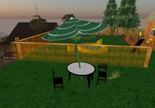 Green Parasol set + Table & Chairs