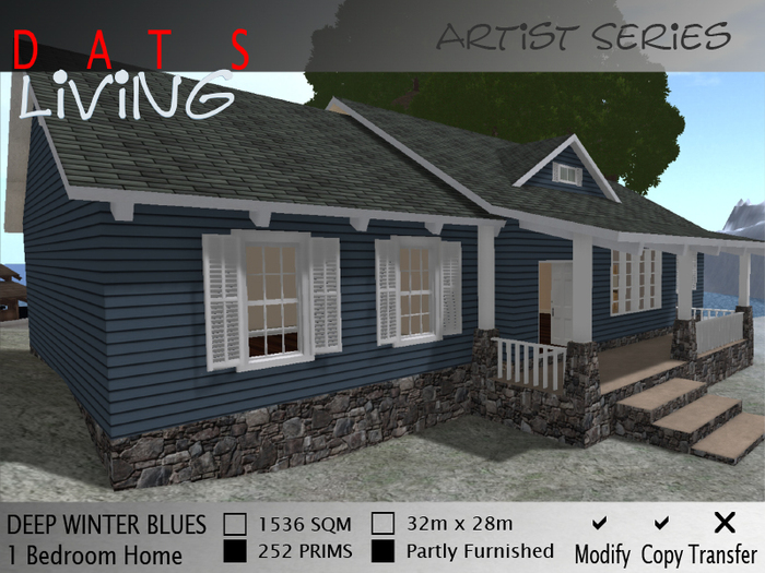 DEEP WINTER BLUES Cottage House, Traditional One Bedroom Home, Cute House, Resident Series Prefab Structure. DATS Living
