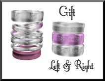 Amour Fashion Silver- Pink Bangle Bracelets
