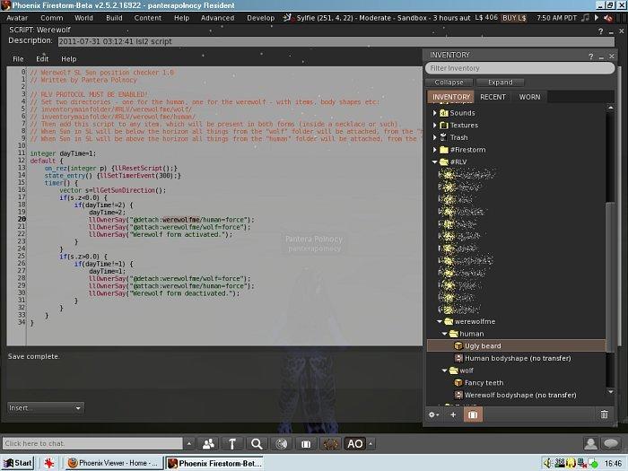 Script: Werewolf SL Sun position checker