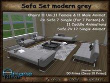 Sofa Set modern grey - Living Room - Sofa, Lounger, Chairs & Table