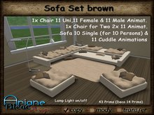 Sofa Corner & Chairs Set brown weave - Living Room -