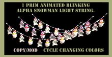 festive animated cycling alpha snowman x-mass light string