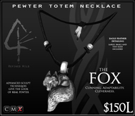 -Pewter Totem Necklace - FOX - by Khyle Sion at ~Refined Wild~