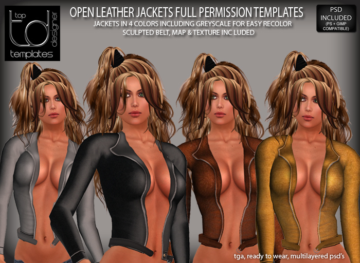 TD TEMPLATES Open Leather Jacket Templates TGA & PSD FILES - FULL PERMISSIONS