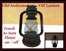 Old Fashioned Oil Lantern - Black - Touch to turn flame on/off