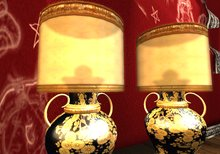 MOCO EMPORIUM - Chinese Gold & Black Lacquer Lamp Set (2 Lamps, Low Coffee Table, Ornament)