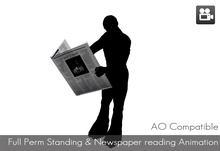 Full Perm AO Compatible Standing and Reading Newspaper animation