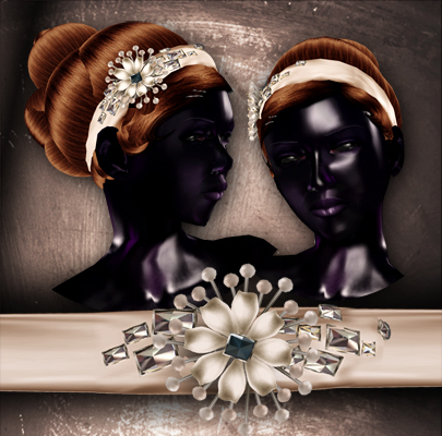 (Paper Couture) Jeweled Headband Updo - Brown