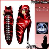 JariCat Fetish Ballet Ankle Boots Tokon - Red