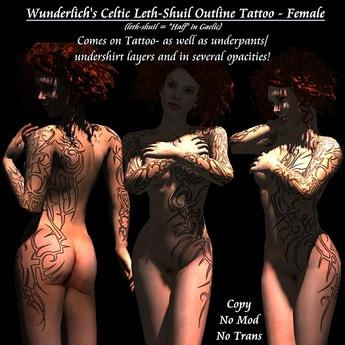 Wunderlich's Celtic Tribal Leth-Shuil Tattoo1 - Outline -Female