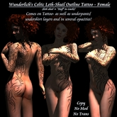 Wunderlich's Celtic Tribal Leth-Shuil Tattoo1 - Outline -Female