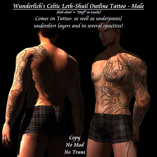 Wunderlich's Celtic Tribal Leth-Shuil Tattoo1 - Outline -Male