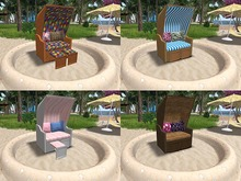 Roofed Wicker Beach Chair