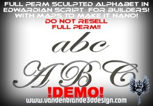 ~Full perm Sculpted Alphabet With maps to make it nano (!DEMO!) 1 prims each letter