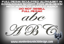 ~Full perm Sculpted Alphabet With maps to make it nano 1 prims each letter! ( Edwardian Script / Font ) With Numbers!!