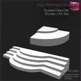 Full Perm 1 prim Sculpted Steps V.2 - Round / Curved Steps - Builder's Kit Set