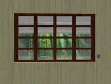 divided  glass windows whit blind  ウィンドウの