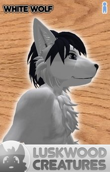Luskwood White Wolf Furry Avatar - Male