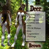 Sculpted Furry Deer - Brown