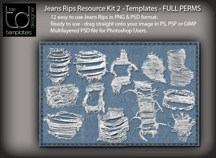 TD TEMPLATES Jeans Rips Resource Kit 2 - PNG & PSD FILES - FULL PERMISSIONS