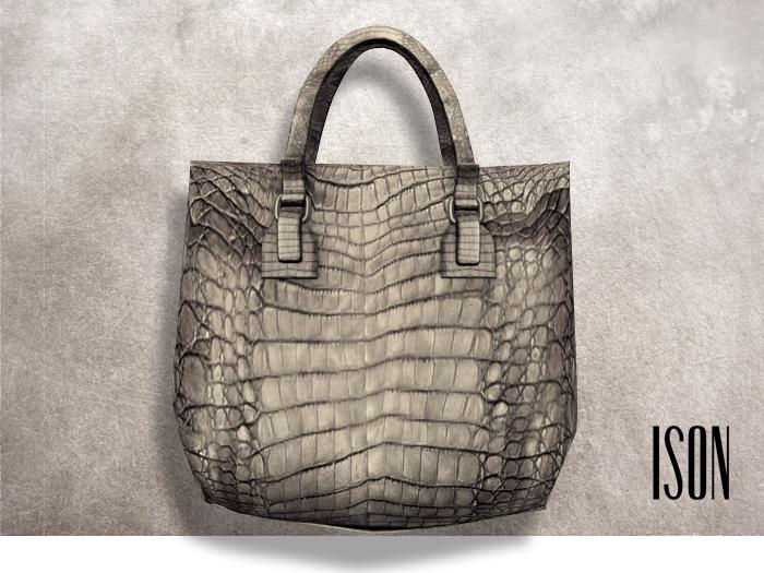 ISON - kabuki crocodile tote (pearl)