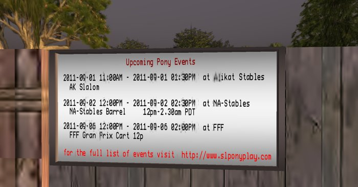 SLPonyplay.com Events Board