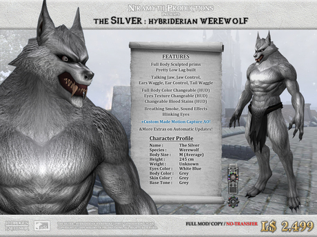 """The Silver"" Hybriderian Werewolf (The First Generation Lycan)"