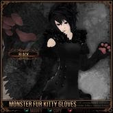 [Mesh] =^.^= Curious Kitties - Monster Fur Kitty Gloves - Black