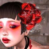 tomoto, corsage des fleurs rouges