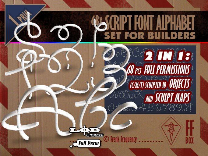 [FFBox] 68x Script Font Alphabet {Full Perm} for Builders