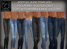 TD TEMPLATES Bootleg Jeans Templates - FULL PERMISSIONS TGA FILES