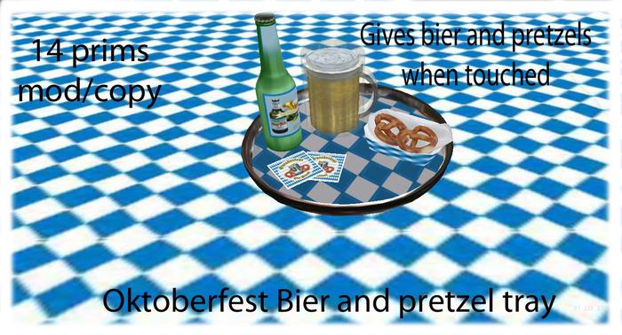 Oktoberfest bier and pretzel tray
