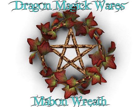 Dragon Magick Wares Pagan Mabon Wreath Sculpted Pentagram