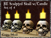 RE Sculpted Skull w/Candle Box - Set of 4 - Gray & Bone Color